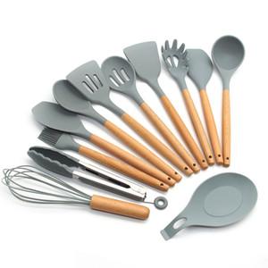 Leeseph silicone per casa utensile da cucina Set - manici in legno naturali Strumenti di cucina per Pentole antiaderenti T200507