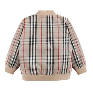 Children's Clothes Boys Autumn Erect Collar Children Zipper Lattice Jacket Cardigan Loose Coat Windbreaker Jacket 0201