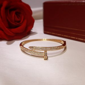 marque populaire S925 vis plaqué clou Bracelet 5A zircon 18K célébrité boule de mode de luxe design des ongles classique Bracelet couple