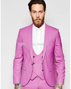 Handsome One Button Groom Tuxedos Shawl Lapel Men Suits 3 pieces Wedding Prom Dinner Blazer (Jacket+Pants+Vest+Tie) W666