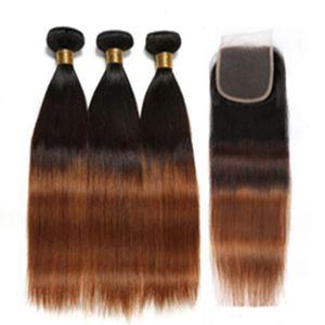 Silanda الشعر أعلى درجة أومبير اللون #T 1B / 30/04 شعر لحمة النسيج 3 حزم مع ال 4x4 الرباط إغلاق شحن مجاني مستقيم ريمي الإنسان