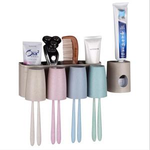 Multi-fonction libre punch blé lavage Coupe mural Drainante Dentifrice Distributeur Porte-brosse à dents Accessoires de salle de bain HA884