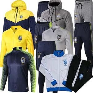 Giacca da calcio Brasile TOP TOP 2019 2020 set tuta da Coppa del mondo 2018 kit giacca da calcio PRE-MATCH giallo tuta da allenamento Coutinho Brasile