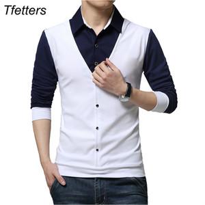 TFETTERS Marka Sonbahar Erkek T Shirt Moda 2019 Sahte İki Tasarımcı Giyim tişört Erkekler Uzun Kollu T Shirt Casual Erkek Y200104 Soğuk