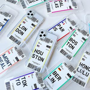 Aria biglietto USA città Londra Parigi Tokyo Label caso Mondiale chiaro per iPhone Pro 11 XR XS Max 7 8 più il codice QR Houston Chicago