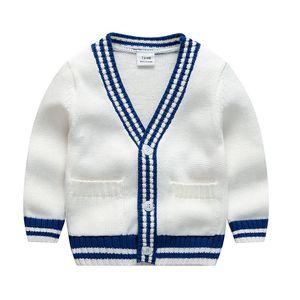 INS детская детская одежда свитер кардиган с пуговицами свитер сплошной цвет 100% хлопок бутик мальчик девочка весна осень свитер B1112