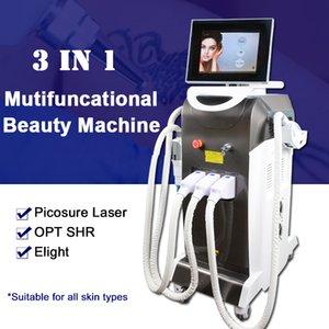 Multifunzione laser picosecondo melanina del pigmento del tatuaggio Macchina di rimozione con Pico laser Elight OPT SHR 3 maniglie