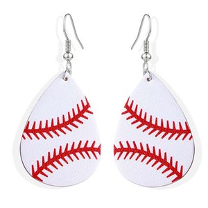 Nouveau design Waterdrop Boucles d'oreilles en cuir Sport Baseball Basket-ball Football Volley-ball en cuir PU Goutte d'impression Dangle boucle d'oreille Cust multi-couleurs