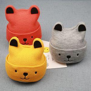 Baby Warm Bear Cartoon Hat Children's Wool Knit Cap Autumn Winter Baby Boy Girl Cute Ears Hat Kids Beanies Gift Caps