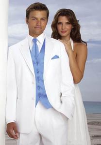 Neues Design Zwei Tasten Weiß Bräutigam Smoking Groomsmen Best Man Suits Mens Blazer Anzüge (Jacke + Hose + Weste + Krawatte)