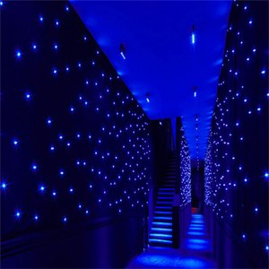 New Arrival 4X 8 Meters Blue-White Color LED Star Curtain Wedding Stage Backdrop Cloth For Wedding Party Dance Decoration