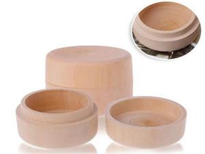 50 unids pequeña caja de regalo de madera redonda caja de almacenamiento de madera caja de anillo caja de joyería del vintage accesorios de boda