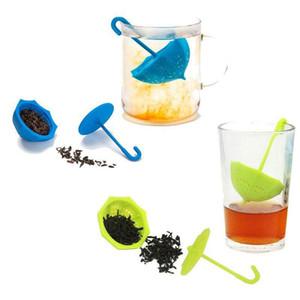 Silikon Çay sarılmış karikatür süzgeçler Güzel Çay demlik Yaratıcı Çay Filtre Ev büro dekor FFA2851 ile Şemsiye Çay Filtre