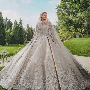 Luxus Dubai Arabeske Brautkleider 2020 Herrliche Sparkly hohe Ansatz Illusion Top Ballkleid Brautkleider Robe De Mariee