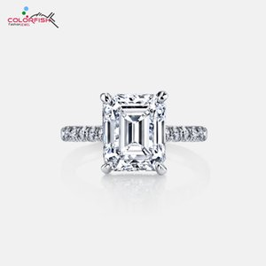 vendita all'ingrosso di lusso 3 carati 925 sterling silver Rose Gold Filled Solitaire anello di fidanzamento gioielli da donna anello di rettangolo