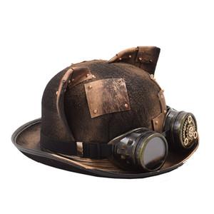 Steampunk من قبعة النساء الرجال الرجعية القوطية القط الأذن التصحيح والعتاد نظارات الرامي توبر بيلليك العريس الأعلى القبعات فيدورا قبعات Y19070503