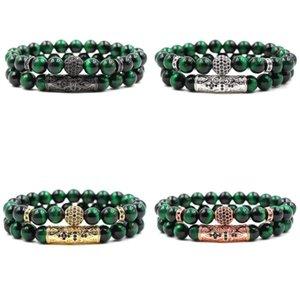 Green Tiger Eye Gemstone Bead Bracelet Stretch Chakra Energy Balance Protection Healing Gift Hombres para mujeres Accesorios de joyería de moda M478A