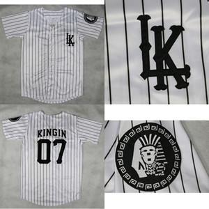 LA LAST KINGS KINGIN 야구 저지 더블 스티치 화이트 IN STOCK DHL 배송 높은 품질의 야구 유니폼