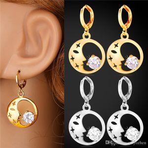 Women's Beauty Face Fashion Earrings 2015 New Fashion Jewelry Platinum 18K Gold Plated Cubic Zirconia Drop Earrings