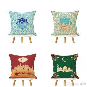 Ramadan Decorazione Cuscino Color Mix Stampa Lanterna Luna Sislamic Musulmano Federa decorativa Tessili per la casa 4 5yl E1