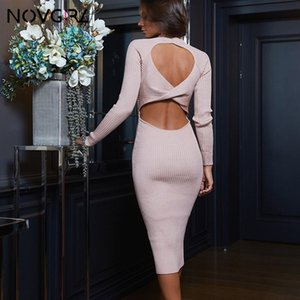 Novgirl Backless Kreuz aushöhlen Sexy Strickkleid Frauen lange Hülsen-elegantes Büro Ladie Enges Kleid Sweater Party Kleider