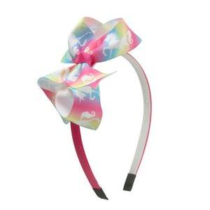 Fashion Girl Cartoon Hair Bow Headband Boutique Rainbow Printed Handmade Ribbon Hairbands Children Hair Accessories Fashion Girl iwGbo