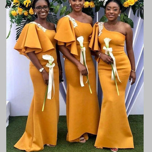 Satin African Mermaid Bridesmaid Dresses Long One Shoulder Lace Appliques Maid Of The Honor Gowns Country Plus Size Wedding Party Dress