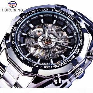 2019 Silver Stainless Steel Waterproof Mens Skeleton Watches Top Brand Luxury Transparent Mechanical Male Wrist Watch