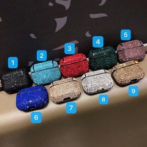 Para el caso Protect Airpods Pro funda de lujo del brillo del diamante 3D Sólido auricular del color de la cubierta para AirPods 2/1 Bling Bling para AirPods