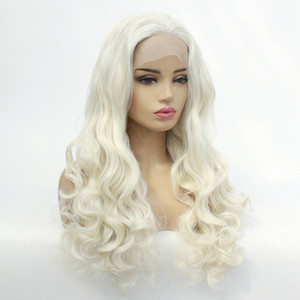 Loira sintética dianteira do laço peruca longa Natural Onda # 613 Mixed Synthetic Branco Platinum Blonde macia Wigs cabelo calor fibra resistente