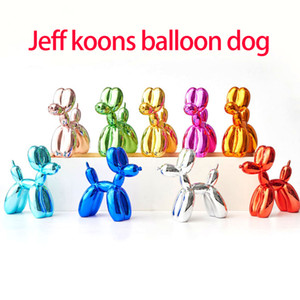 Placcatura Jeff Koons Shiny palloncini Cane statua del cane dell'arte Scultura Animali statuetta in resina Artigianato Home Accessori Decoration