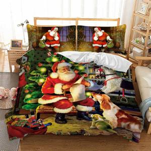 Ev için Noel Yatak Seti Queen / Yataklı / King Size 3D Noel Baba yılbaşı ağacı Baskılı Nevresim yastık kılıfı Dekorasyon