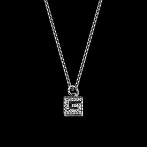 New Square G Letter Retro Style Carved Pattern Men's Necklace Men's and Women's Long Pendant Necklace