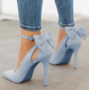 Kadınlar Yüksek Topuklar Marka Kadınlar Ayakkabı Sivri Burun Toka Kayış Kelebek Yaz Seksi Parti Ayakkabı Düğün Ayakkabı Plus Size DE pompaları