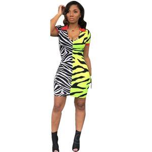Dress Zebra Stripes sexy del mini collo delle donne V Patchwork Giallo Streetwear Night Club bicchierino di modo Abiti estate aderente