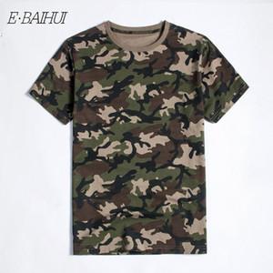 T-shirt do E-baihui New exterior Caça CamouflageT-shirt Men respirável Army Tactical CombatTShirt Militar seco Esporte Homens Camo