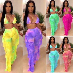 Mujeres Tie Dye Trajes de dos piezas Estampado de galaxia Bikini Sujetador Traje de baño Ver aunque Sujetador Halter Top Volantes Pantalones de empalme Chándal LJJA2559