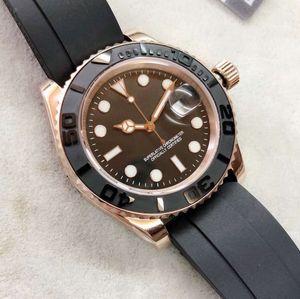 Montre automatique noire cadran noir Everose Gold Case Black Rubber Band Mens Watch 44MM Mens Watches Montres avec mains lumineuses