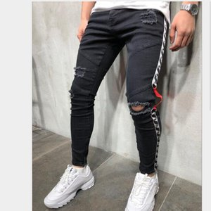 Mens Jeans Streetwear New Casual Style Ribbon Hole Pencil Pants Slim Zip Asian Size S-3XL Free Shipping