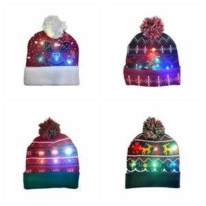LED 크리스마스 뜨개질 모자 레드 조명 폼은 비니 키즈 성인 눈송이 크리스마스 크로 셰 뜨개질 모자 등 니트 볼 캡 파티 선물 RRA2456