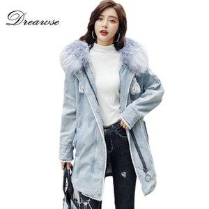 Dreawse cotone Donne lungo inverno nuovo modo allentato Spesso denim lavato cotone imbottito peluche cappotto falso pelliccia calda MZ3132 Jacket