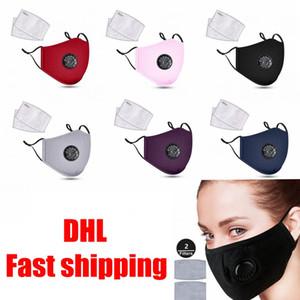 Máscaras de la moda unisex algodón de la cara de la válvula con la respiración boca PM2.5 máscara de la máscara de tela anti-polvo reutilizable con 2 filtros en su interior