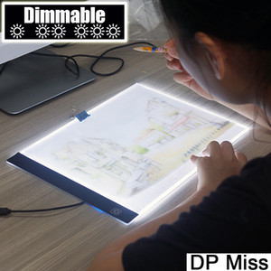 Dimmerabile! Ultrathin A4 LED Light Tablet Pad applicare a EU / UK / AU / US / USB Plug Led tavola da disegno Anime pittura diamante Kit punto croce