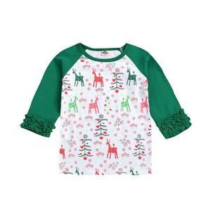 Baby-T-Shirt Karikatur druckte Patchwork-Weihnachten Tops Mädchen-Kleidung Mädchen Tops Kind-druckten T Shirts 1M-5M 07