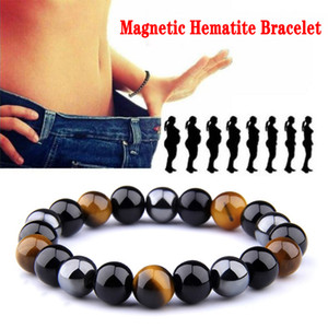 Natural Stone beads Obsidian Hematite Tiger Eye Beads Magnetic Therapy Hematite Anti-Fatigue Slimming Stretch Bracelets for Women & Men 8 10