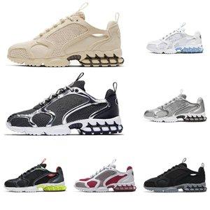 stussy nike zoom spiridon caged 2 Koşu Ayakkabıları Üçlü Beyaz Limon Zehiri SAF PLATIN Nefes Bayan Erkek Eğitmenler Moda Spor Sneakers