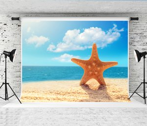 Dream 7x5ft Summer Beach Photographie Toile de fond Bleu Océan Ciel Photo Fond pour Enfants Image Starfish Prop Shoot Milieux Studio