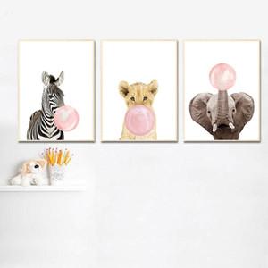 Burbuja elefante rosado Arte Cartel de la pared de la jirafa Niño Animal Nursery impresión de la lona de la pintura nórdica Joven Bebé decoración del sitio de Imagen
