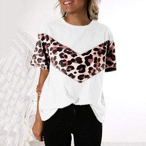 Running Trikots Übergroße Leopard Print T-Shirt Frauen Mode Sommer Kurzarm Nähte Lose T-Shirt Plus Size Gym Fitness T-Stück Top