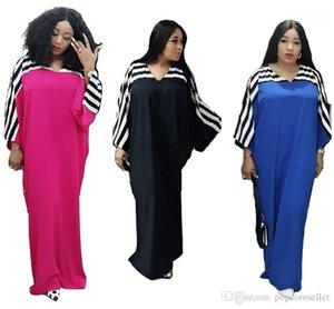 Mãe Mulheres vestido Designer V Vestidos Pescoço Womens New Designer Vestidos Multi Color Striped Patchwork Voluminous